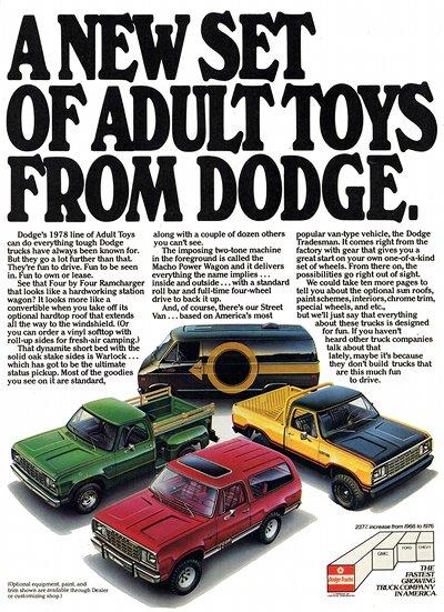 Publicité pour quatre camionnettes Dodge, présentées comme des « jouets pour adultes »