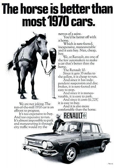 Publicité américaine pour la voiture Renault 10, comparant ses mérites à ceux d'un cheval